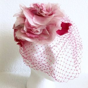 Floral FASCINATOR w/ Pink Veil Netting & Roses